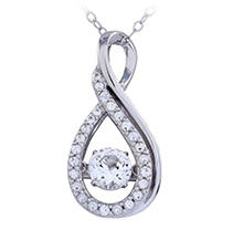 Click here for Infinity Pendant with White Topaz in 14K White Gol... prices
