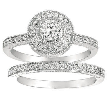 0.60 ct. t.w. Round-Cut Diamond Bridal Set 14k White Gold (I, I1)