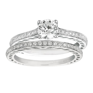 0.85 ct. t.w. Round-Cut Diamond Bridal Set 14k White Gold (I, I1)