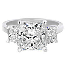 Premier Diamond Collection 4.79 CT. T.W. Princess Diamond Triple Stone Engagement Ring in Platinum - GIA & IGI (H, VVS2)