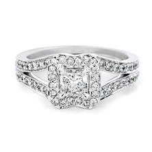 Premier Diamond Collection 1.16 CT. T.W. Radiant Diamond Bow Halo Engagement Ring in 18K White Gold - GIA & IGI (D, SI1)