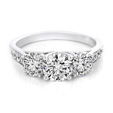 Premier Diamond Collection 2.09 CT. T.W. Triple Round Diamond Engagement Ring in 14K White Gold - GIA & IGI (F, I1)