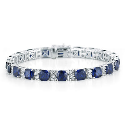 Lab Created Blue and White Sapphire Bracelet in Sterling Silver (IGI Apprasial Value: $200)