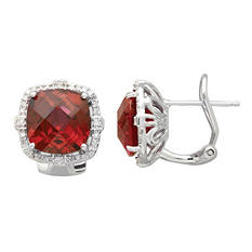 10mm Lab Ruby Earrings with 0.19 CT. T.W. Diamonds in Sterling Silver