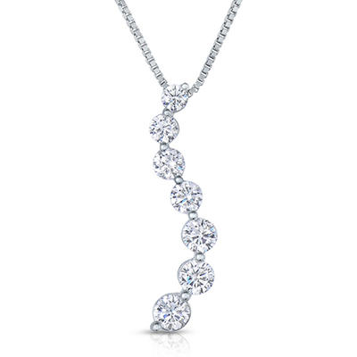 1.00 CT. TW. Diamond Journey Pendant in 14K White Gold (I,I1)