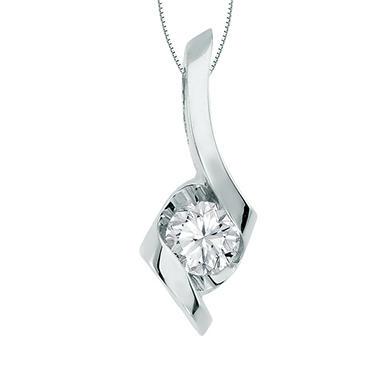 Sirena® Signature 0.20 CT. Round Cut Diamond Pendant in 14K White Gold (H-I, I1)