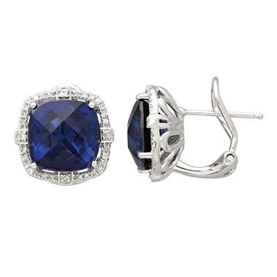 10mm Lab Sapphire Earrings with 0.19 CT. T.W. Diamonds in Sterling Silver