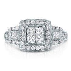 0.96 CT. TW. Diamond Engagement Ring in 14K White Gold (I, I1)