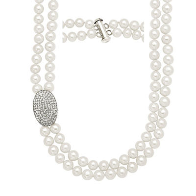 6.5mm Freshwater Pearl Strand Necklace with White Crystal Oval Element in Sterling Silver