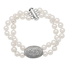 6mm Freshwater Pearl Bracelet with White Crystal Oval Element in Sterling Silver
