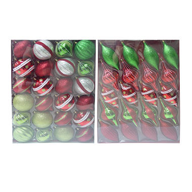 christmas ornaments redgreen 44 ct sams club - Sams Club Christmas Decorations