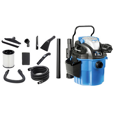 Vacmaster VWM510 Wall Mount Wet/Dry Vacuum - Industrial 2-Stage Motor with Remote Control - 5 Gallon - 5 Peak HP