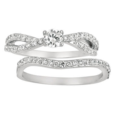 0.85 ct. t.w. Round Cut Diamond Bridal Set in 14k White Gold (I, I1)