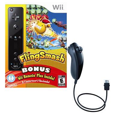 Wii Fling Smash with Black Remote Plus and Black Nunchuk