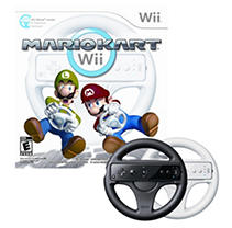 Wii Mario Kart w/ 2 Wii Wheels (1 White and 1 Black)