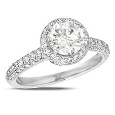 1.50 ct. t.w. Diamond Pave Solitaire 18K White Gold Ring (I, SI2)