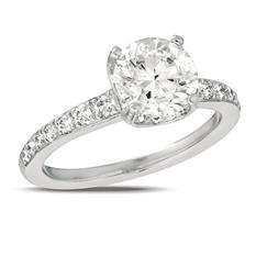 2.00 ct. t.w. Diamond Pave Solitaire 18K White Gold Ring (I, SI2)
