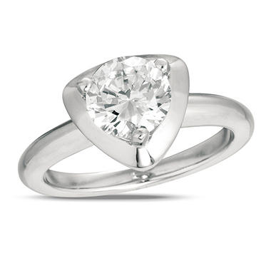 0.50 ct. Diamond Solitaire Triangular-Top Platinum Ring (I, VS2)
