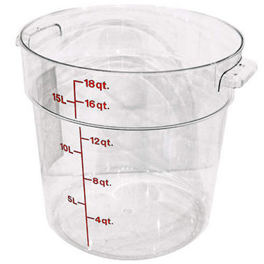 Container 18 Qt Round Clear - 6 Pk.