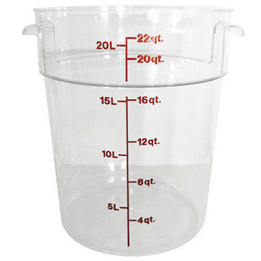 Container 22 Qt Round Clear - 6 Pk.
