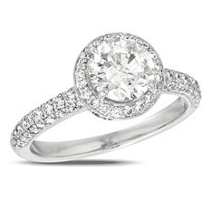 1.00 ct. t.w. Diamond Pave Solitaire 18K White Gold Ring (I, SI2)