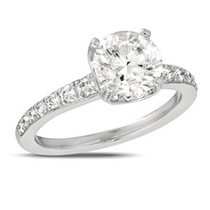 0.90 ct. t.w. Diamond Pave Solitaire 18K White Gold Ring (I, SI2)