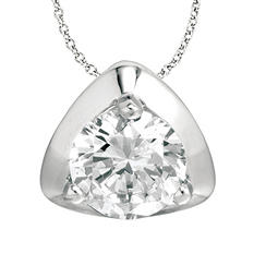 1.00 ct. Diamond Solitaire Triangular-Top 18K White Gold Pendant (I, SI2)