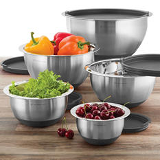 Wolfgang Puck 10-Piece Stainless Steel Mixing Bowl Set - Assorted Colors