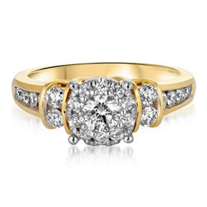 1.00 ct. t.w. Diamond Composite Bridal Ring in 14K Yellow Gold (HI-I1)