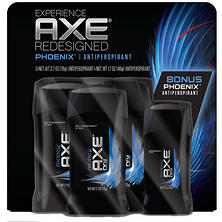 AXE Dry Invisible Solid, Phoenix (2.7 oz. - 3 pk. + 1.7 oz. - 1)