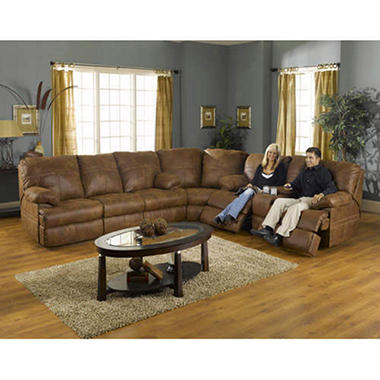 Showtime Reclining Sectional with Console Storage.