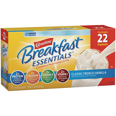 Carnation Chocolate or Vanilla Instant Breakfast - 1.26 oz. - 22 pk.
