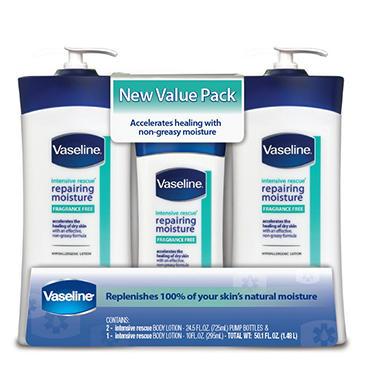 Vaseline Lotion Value Pack - Intensive Rescue - 2/24.5 oz. + 10 oz.