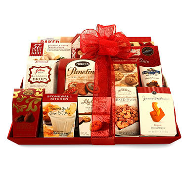 Traditional Luxury Holiday Gift Basket - Red