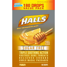 Halls Sugar Free Cough Drops - Honey Lemon - 180 ct.