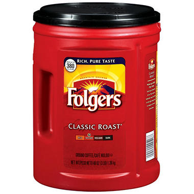 Folgers Classic Roast Ground Coffee (48 oz., 6 pk.)