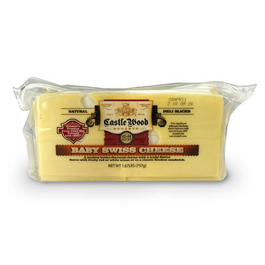Castle Wood Baby Swiss Cheese Slices - 1.67 lbs.