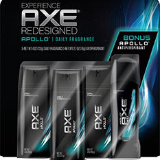 AXE Daily Fragrance Bonus Pack, Apollo (4 oz. - 3 pk. and 2.7 oz. Deodorant)