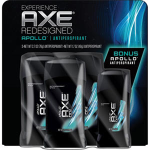 AXE Dry Invisible Solid, Apollo (2.7 oz. - 3 pk. + 1.7 oz. - 1 pk.)