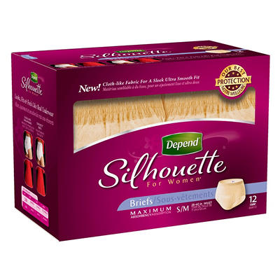 Depend Silhouette for Women Briefs - Maximum Absorbency - Small/Medium - 48 ct.