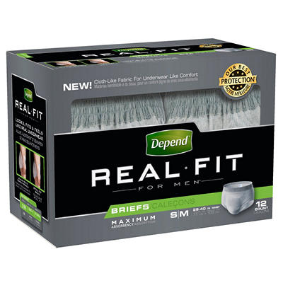Depend Real Fit for Men Briefs - Maximum Absorbency - Small/Medium - 48 ct.