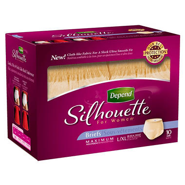 Depend Silhouette for Women Briefs, Maximum Absorbency, Large/Extra Large (40 ct.)