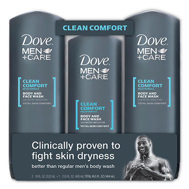 Dove Men+Care Body and Face Wash Bonus Pack - Clean Comfort - 2/18 oz. + 13.5 oz.