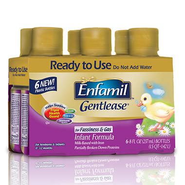 Enfamil Gentlease Infant Formula 8 oz. Ready to Use Bottles, 48 oz. - 4 pk.