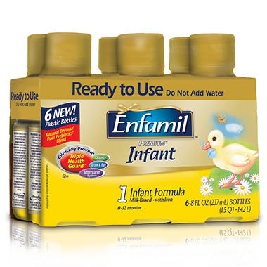 Enfamil Infant Formula 8 oz. Ready to Use Bottles, 48 oz. - 4 pk.