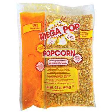 Gold Medal Mega Pop Popcorn, Oil and Salt Kits - 16 oz. - 20 ct. case