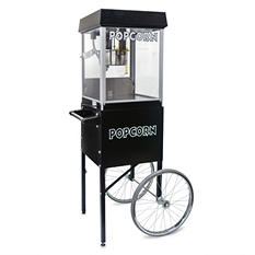 Gold Medal® 2404MDSC - 4 oz. Popper/Cart Combo - Black and Silver