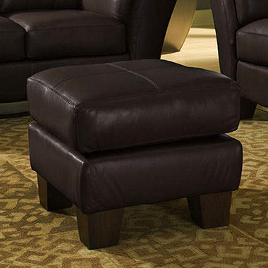 Loft Leather Ottoman - Brown