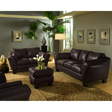 Loft Leather Living Room Set - Brown - 4 pc.