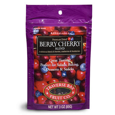 Traverse Bay Dried Berry Cherry Blend - 3 oz. - 24 pks.